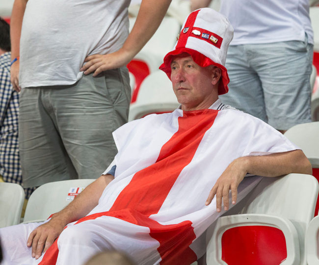 NICE, FRANCE - JUNE 25:  Dejection for England fans at full time during the UEFA Euro 2016 Round of 16 match between England and Iceland at Allianz Riviera Stadium on June 27 in Nice, France.  (Photo by Craig Mercer/CameraSport via Getty Images)